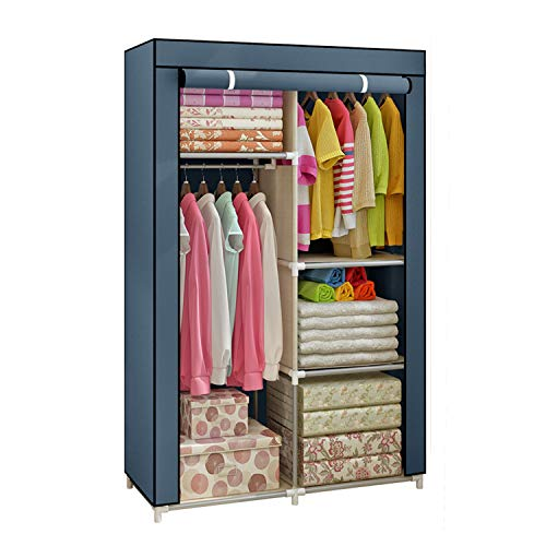Yomeliy Closet Wardrobe, Clothes Storage Organizer with Hanging Rod & Cube Storages, DIY Closet Organizers for Living Room Bedroom (Gray)