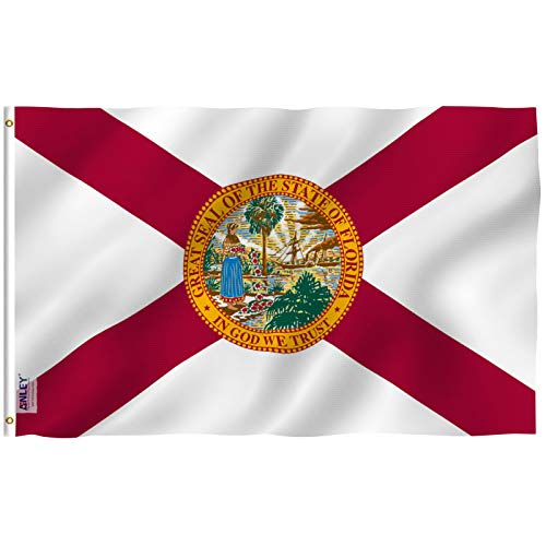 Anley Fly Breeze 3x5 Foot Florida State Polyester Flag - Vivid Color and UV Fade Resistant - Canvas Header and Double Stitched - FL State Flags with Brass Grommets 3 X 5 Ft
