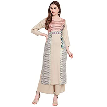 BI AMMA PLUS SIZE WOMEN'S PRINTED STRAIGHT FIT RAYON KURTA AND FLARED PRINTED PALAZZO SET