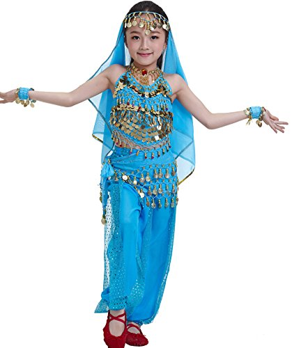 Astage Kids Princess Girl Indian Belly Dance Costume Cosplay Bollywood Ornaments Sky Blue S