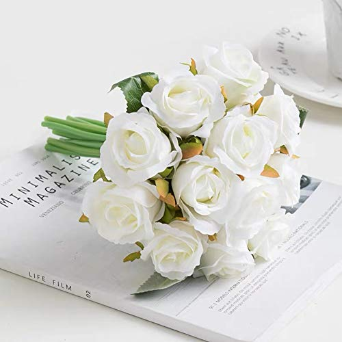 (Jasion Artificial Roses Flowers 12 Heads Arrangement Silk Bouquet for Home Office Parties Bridal and Wedding Decoration (Spring White))