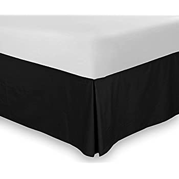 Amazon Com Premium Cotton Bed Skirt Queen Black Home Kitchen