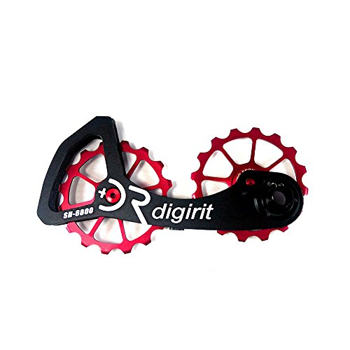 DIGIRIT SHA 16/16T Bike Rear Derailleur Oversized Pulleys Wheel Set with Alloy Cage Alloy Pulley Stainless Bearings for Shimano Ultegra/Dura Ace 6700 6780 6800 6870 7800 7900 7970 9000 9070