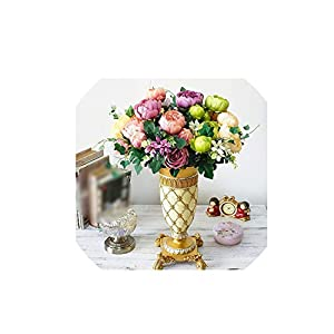 Wild-World DECOR 1pc Bouquet HI-Q European 12 Head Artificial Flower Oil Painting Peony Rose Silk Flower Fake Leaf Wedding Home Party Decoration 6
