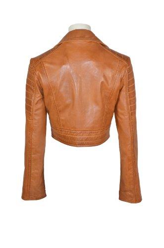 Missy Mesdames court Fashion équipée Tan Biker souple Napa Goth Veste en cuir KYLIE