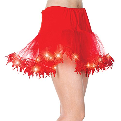 [Womens Light Up Tulle Petticoat Tutu Costume Accessory in Black White or Red Color: Red] (Light Up Black Tutu)