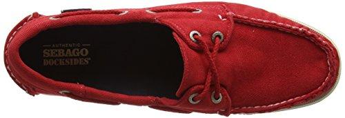 Sebago Docksides, Scarpe da Barca Donna Rosso (Red Canvas)