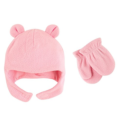 Fleece Bear Hat and Mitten Set, Light Pink, 18-24 Months ()