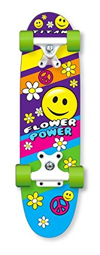 TITAN Flower Power Princess Pink Girls Skateboard, Single Kick-board, 24