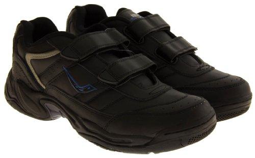 Ascot MuurayII Hombre Cuero en Forma Amplia Zapatillas de Deporte Ocasionales Velcro Negro