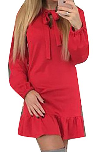Tie Cruiize Dress Women's Bow Long Loose Red Ruffle Sleeve Solid Basic Crtqwr