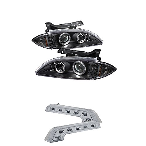 Chevy Cavalier Halo LED ( Replaceable LEDs ) Black Projector Headlights