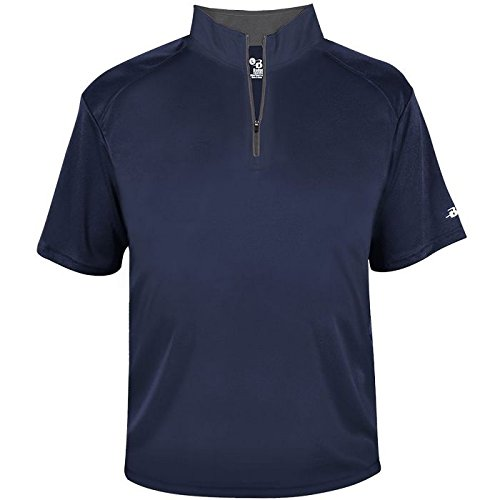 Badger Men's B-Core Short Sleeve 1/4 Zip Pullover Navy/Graphite XL