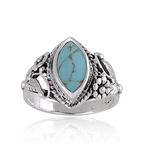 925 Sterling Silver Blue Turquoise Stone Vintage Style Band Ring - Nickel Free Size 6