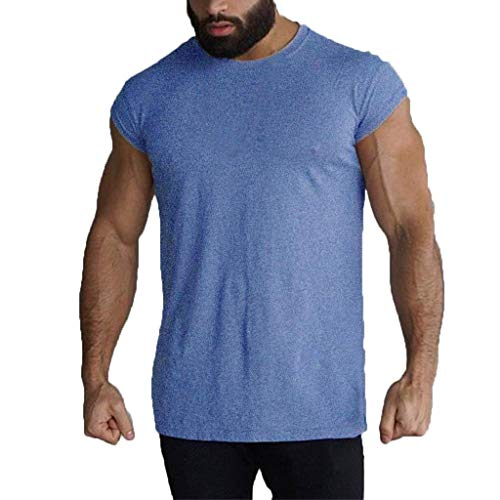 - iHPH7 Tank Top Shirt Men Summer Pure Color Fitness Vest Fashion Fitness Run Blouse Top S Blue