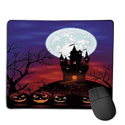 Premium-Textured Mouse Mat,Non-Slip Rubber Mousepad Waterproof,Halloween Decorations,Gothic Haunted House Castle Hill Valley Night Sky October Festival Theme,Multi,Applies to Games,Home, School,offi]()