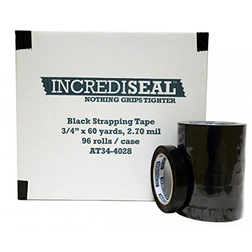 INCREDISEAL Polypro Strapping Tape, 3/4'' x 60 yards, 2.70 mil, 96 Rolls/Case, Black (UNPK.AT34-4028)