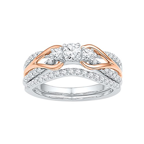 Jewels By Lux 14kt White Gold Rose-tone Womens Round Diamond Knot Bridal Wedding Engagement Ring Band Set 5/8 Cttw Ring Size 10.5