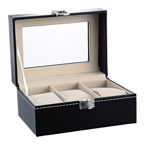 Housweety Neu Uhrenkoffer Uhrenbox für 3 Uhren Uhrenkasten