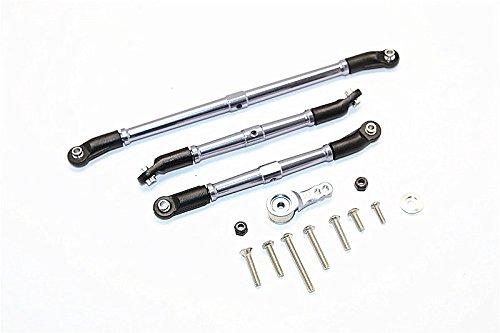 Axial SCX10 II Upgrade Parts (AX90046, AX90047) Aluminum Adjustable Steering Links With Hi-Torque Servo Saver 25T - 4Pcs Set Gray (Torque Link)