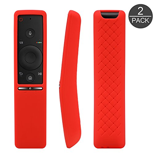[2-Pack] Remote Case for Samsung BN59-01259B BN59-01259E BN59-01260A, AKWOX [Anti Slip] Shock Proof Washable Remote Protector Cover for Samsung UHD TV Remote Controller With Lanyard (Rose red)