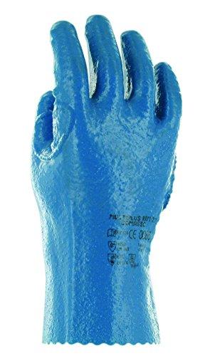 Ansell Multiplus RRM 27 PVC Handschuh, Chemikalien- und Flüssigkeitsschutz, Blau, Größe 10 (12 Paar pro Beutel)