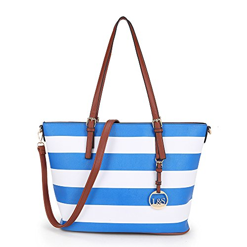 Adjustable Totes with Women's Beach LS Bag DarkBlue Strap Handle and Long Stripe Shoulder Designer 60TYxn