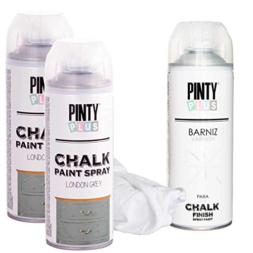 aint Kit, 2 Chalk Colors, Plus 1 Can Varnish for Satin Finish and Protection, Cleaning Cloth (London Grey) ()