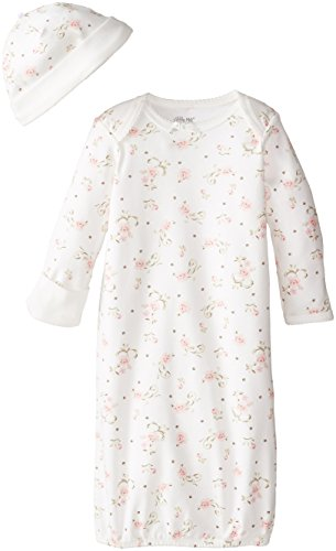 Little Me Baby Girls' Gown and Hat Set, Ivory/Multi, 0-3 Months
