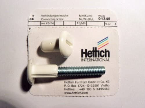 45-54 mm Artikelnr 4 St/ück 1345 Hettich Verbindungsschraube M 6 wei/ß
