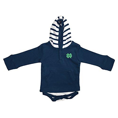 Two Feet Ahead Notre Dame Fighting Irish Newborn Infant Striped Hooded Creeper Sweatshirt Jacket (12 Months)