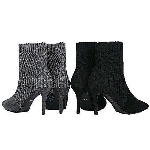 Hecater Ankel Boots, Kvinner Grå Stiletto Høye Hæler Stretchy Lycra Sokker Bredt Fit Størrelse Grå
