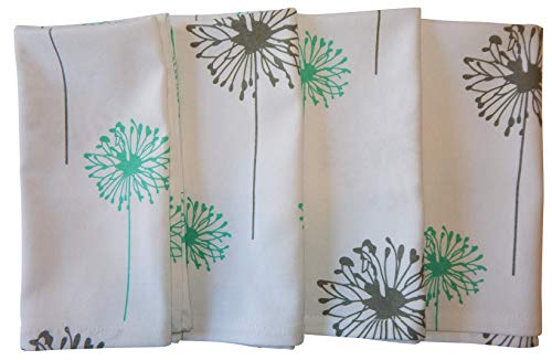 - Crabtree Collection Gray Dandelion Cotton Cloth Napkins Turquoise/Gray Dandelion (Set of 4)