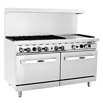 "CookRite ATO-6B24G Commercial Liquid Propane Range 6 Burner Hotplates with 24"" Manual Griddle 2 Standard Ovens 60'' Restaurant Range- 240000 BTU"