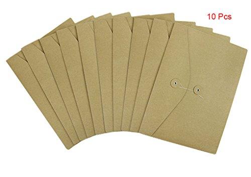 (10 Pcs A4 Size Kraft Paper Project Envelope File Folder Bags Document Bills Storage Organizer Bag Case with Expandable Gusset Portfolio Organizer Sleeve Pocket With String Fastener, Office Supplies)