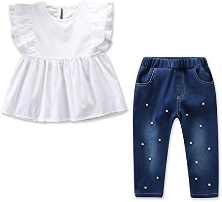 Ropa de moda para niña de niños Conjunto de camisa de volantes Top + Rebordear Pantalones Trajes 2pcs / set (Size : 100): Amazon.es: Bebé