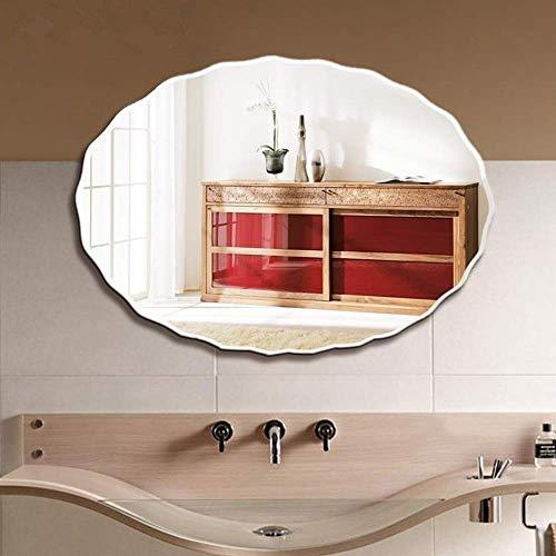 Bathroom mirror JWZQ Oval Wavy Edge, Wall-Mounted Frameless Vanity Mirror, 60X80cm HD/Explosion-Proof -
