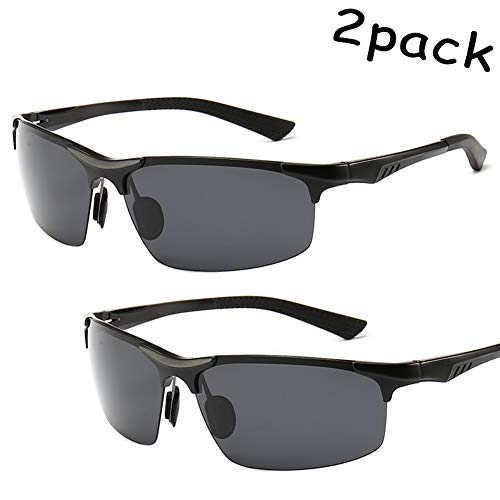 GMACCE Mens and Womens Polarized Sports Sunglasses for Baseball Softball Fishing Golf Running Cycling Driving Hiking Unbreakable Shades 2pack,01