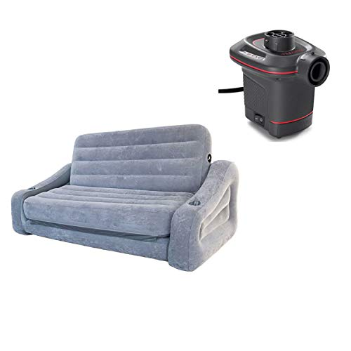 Intex Inflatable 2-in-1 Pull-Out Sofa and Queen Air Mattress Futon, GrayIntex 12 Volt Quick-Fill DC Car Electric 23 CFM Inflatable Float & Air Bed Pump from Intex