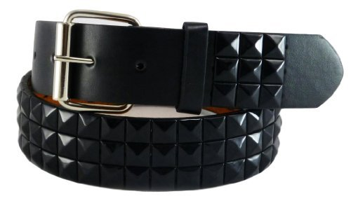 Nice Shades Bonded Leather/faux Punk Studded Belt (Many Sizes & Colors Available) (Medium, Black & Black)