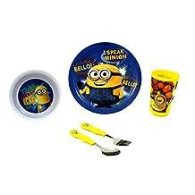 Zak Designs Despicable Me 2 Minions Graphics - 5 Piece Mealtime Bundle Set Includes - Plate, Tumbler, Bowl, Fork and Spoon by Zak Designs