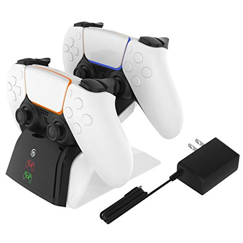 Dual Charger Station for PS5 Controller, MENEEA Fast Charging Stand Dock Accessrrories and LED Indicator for Playstation 5 DualSense Wireless Controller with a AC Adapter