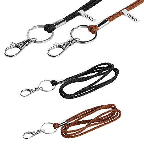 Office Lanyard, PLENTY 2PCS Handmade PU Leather Necklace Lanyard with Strong Clip and Keychain for Keys, ID Badge Holder, Camera, Cell Phone, iPod MP3 MP4, USB Flash Drive (Black+Brown)