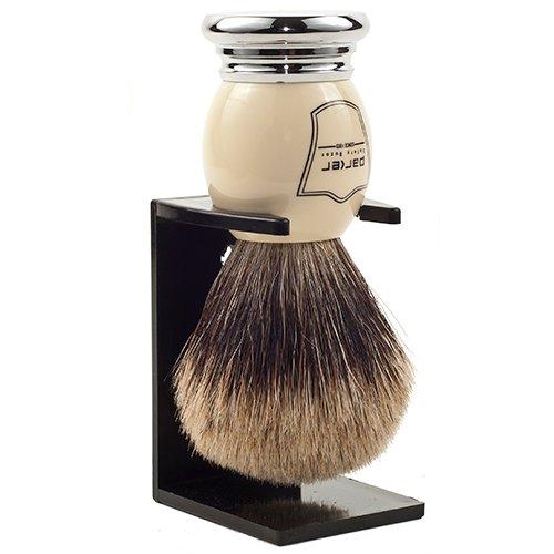 Parker Safety Razor 100% ''Extra Dense'' Best Badger Bristle Shaving Brush with White & Chrome Handle -- Free Brush Stand Included