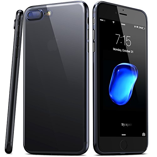 TOZO for iPhone 7 Plus Case iPhone 8 Plus Case, PP Ultra Thin [0.35mm] Worlds Thinest Protect Hard Case [ Semi-Transparent ] Lightweight 5.5 inch. [Jet Black]