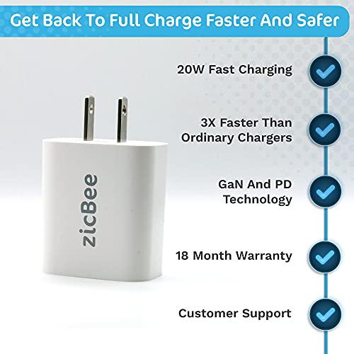 USB C Charger Block – 20W PD USB C Power Adapter with Compact Design - Lightning Fast Charging for iOS - Compatible with iPhone 13, 12, 11, iPad, Galaxy S10 and More
