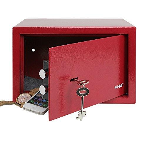 HMF 49200-03 Tresor Möbeltresor Doppelbartschloss, 31,0 x 20,0 x 20,0 cm , rot