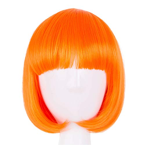Peony red Short Wavy Wig Flat Bangs Orange Hair Synthetic Heat Resistant Halloween Party Orange -