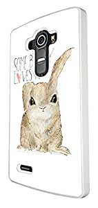 984 - Cool fun cute bunny quote some bunny loves you heart Design For LG G4 Fashion Trend CASE Back COVER Plastic&Thin Metal - White