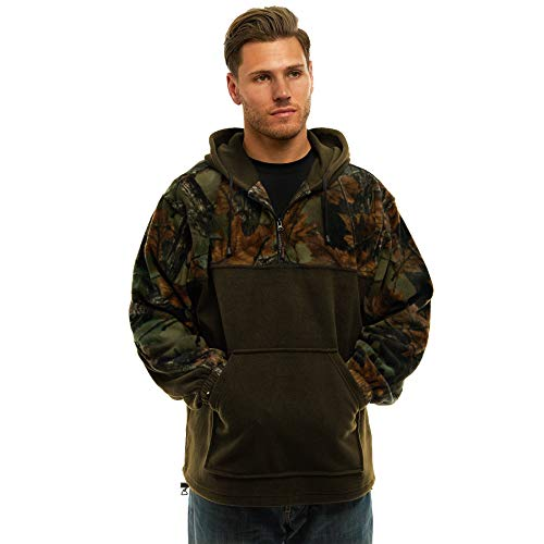 - TrailCrest Fleece Hunting Camouflage 1/4 Zip Hooded Sweatshirt (2X, Olive)
